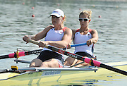 Belgrade, SERBIA. 2012  USA1 W2X.  bow.Erin Cafaro and Elle Logan, move away from the start. FISA World Cup I.   Friday  04/05/2012 [Mandatory Credit. Peter Spurrier/Intersport Images]