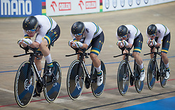 February 28, 2019 - Pruszkow, Poland - Samuel Welsford (AUS),Kelland O'Brien (AUS),Leigh Howard (AUS),Alexander Porter (AUS) on day two of the UCI Track Cycling World Championships held in the BGZ BNP Paribas Velodrome Arena on February 28, 2019 in Pruszkow, Poland. (Credit Image: © Foto Olimpik/NurPhoto via ZUMA Press)