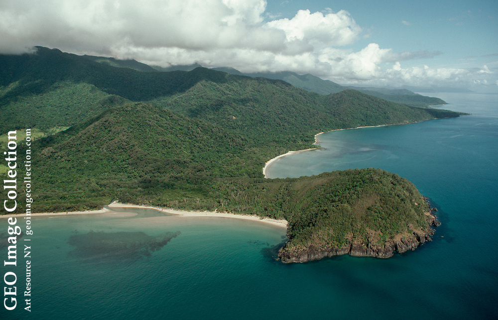 Aerial of Cape Tribulation, where Captain Cook repaired his ship.