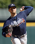 CHICAGO - JULY 09:  Ian Krol #46 of the Atlanta Braves pitches against the Chicago White Sox on July 9, 2016 at U.S. Cellular Field in Chicago, Illinois.  The White Sox defeated the Braves 5-4.  (Photo by Ron Vesely) Subject:    Ian Krol