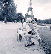 posing with the Eiffel Tower Paris France ca 1960s