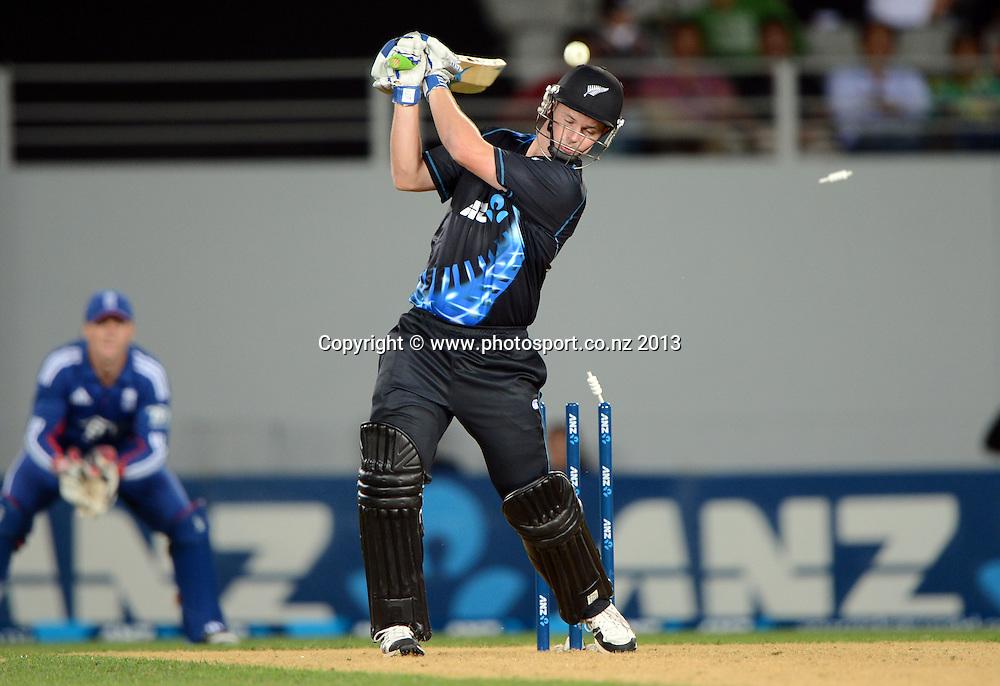 Colin Munro is bowled. ANZ T20 Series. 1st Twenty20 Cricket International. New Zealand Black Caps versus England at Eden Park, Auckland, New Zealand. Saturday 9 February 2013. Photo: Andrew Cornaga/Photosport.co.nz