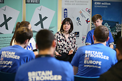 """© Licensed to London News Pictures . 15/04/2016 . Manchester , UK . Lucy Powell MP visits Manchester Metropolitan University as part of the """" Britain Stronger in Europe """" campaign . Photo credit: Joel Goodman/LNP"""