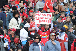 14-07-18 Johannesburg. Emirates Airlines Park. Emirates Lions vs Vodacom Blue Bulls.<br /> 1st half. A Lions supporter hold an Afrikaans sign that reads 'Make all the Lions Springboks'. <br /> Picture: Karen Sandison/African News Agency (ANA)