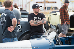 Friday afternoon bike / car show in the hotel parking lot before the Race of Gentlemen. Wildwood, NJ, USA. October 9, 2015.  Photography ©2015 Michael Lichter.