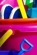 Sand bucket and beach toys.