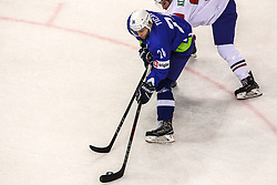 Rok Ticar of Slovenia during Ice Hockey match between National Teams of Italy and Slovenia in Round #5 of 2018 IIHF Ice Hockey World Championship Division I Group A, on April 28, 2018 in Arena Laszla Pappa, Budapest, Hungary. Photo by David Balogh / Sportida