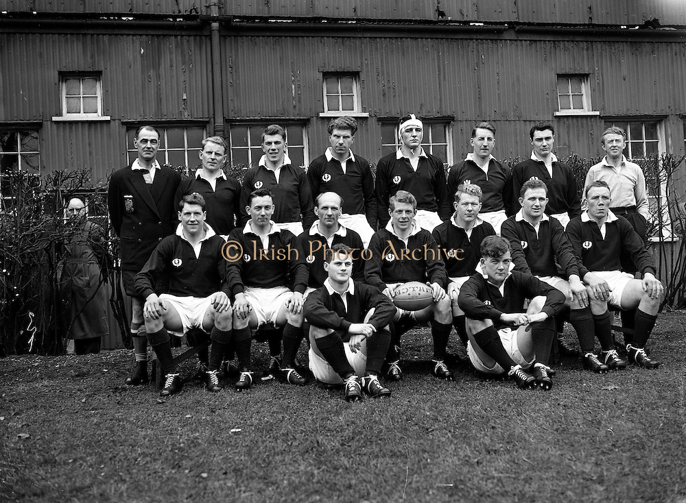 Irish Rugby Football Union, Ireland v Scotland, Five Nations, Landsdowne Road, Dublin, Ireland, Saturday 1th March, 1958,.1.3.1958, 3.1.1958,..Referee- W N Gillmore, Rugby Football Union, ..Score- Ireland 12 - 6 Scotland, ..Scottish Team, ..R W T Chisholm, Wearing number 1 Scottish jersey, Full Back, Melrose Rugby Football Club, Melrose, Scotland, ..T G Weatherstone, Wearing number 5 Scottish jersey, Left Wing, Stewarts College Rugby Football Club, Edinburgh, Scotland, ..J T Docherty, Wearing number 4 Scottish jersey,  Left Centre, Glasgow High School F P Rugby Football Club, Glasgow, Scotland, ..G D Stevenson, Wearing number 3 Scottish jersey,  Right Centre, Hawick Rugby Football Club, Hawick, Scotland, ..A R Smith, Wearing number 2 Scottish jersey, Captain of the Scottish team, Right Wing, Gosforth Rugby Football Club, Northumberland, England, ..G H Waddell, Wearing number 6 Scottish jersey,  Stand Off, Devonport Services Rugby Football Club, Plymouth, England, ..J A T Rodd, Wearing number 7 Scottish jersey,  Scrum Half, United Services Portsmouth Rugby Football Club, Hampshire, England, ..H F McLeod, Wearing number 8 Scottish jersey,  Forward,  Hawick Rugby Football Club, Hawick, Scotland, ..N S Bruce, Wearing number 9 Scottish jersey,  Forward, Blackheath Rugby Football Club, London, England,..T Elliot, Wearing number 10 Scottish jersey,  Forward,  Gala Rugby Football Club, Galashiels, Scotland, ..M W Swan, Wearing number 11 Scottish jersey,  Forward, Oxford University Rugby Football Club, Oxford, England,..J W Y Kemp, Wearing number 12 Scottish jersey,  Forward, Glasgow High School F P Rugby Football Club, Glasgow, Scotland, ..D C MacDonald, Wearing number 13 Scottish jersey,  Forward, Edinburgh University Rugby Football Club, Edinburgh, Scotland,..J T Greenwood, Wearing number 14 Scottish jersey,  Forward, Perthshire Academicals Rugby Football Club, Perth, Scotland,..A Robson, Wearing number 15 Scottish jersey,  Forward,  Hawick Rugby Football Club, Hawick, Sc