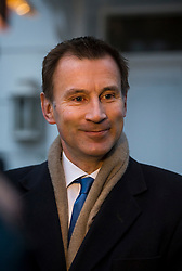 © Licensed to London News Pictures. 10/02/2016. London, UK. File picture. Secretary of State for Health JEREMY HUNT leaves his home in London on the day that junior doctors held their second strike. The Health Secretary has announced that a new contract will be imposed on junior doctors after negotiations with the BMA failed. Photo credit: Ben Cawthra/LNP