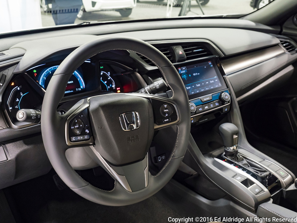CHARLOTTE, NC, USA - NOVEMBER 17, 2016: Honda Civic Hatch on display during the 2016 Charlotte International Auto Show at the Charlotte Convention Center in downtown Charlotte.