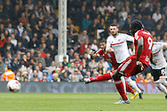 Birmingham City forward Clayton Donaldson (9) takes a penalty and fails to score during the EFL Sky Bet Championship match between Fulham and Birmingham City at Craven Cottage, London, England on 10 September 2016. Photo by Andy Walter.