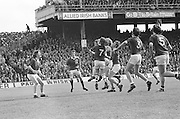 Group of players waiting for the ball to fall from the sky during the All Ireland Senior Gaelic Football Championship Final Dublin V Galway at Croke Park on the 22nd September 1974. Dublin 0-14 Galway 1-06.