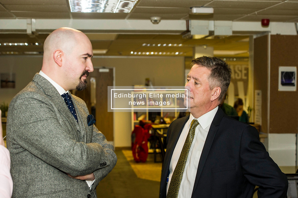 Pictured: Keith Brown met Jamie Coleman, chairman and co founder of CodeBase<br /> Today Keith Brown MSP opened Scotland's first Barclays Eagle lab in partnership with CodeBase. The resource allows businesses and communities to access new technologies and boost digital skills while supporting job creation in the local economy. <br /> <br /> Ger Harley   EEm 16 January 2018