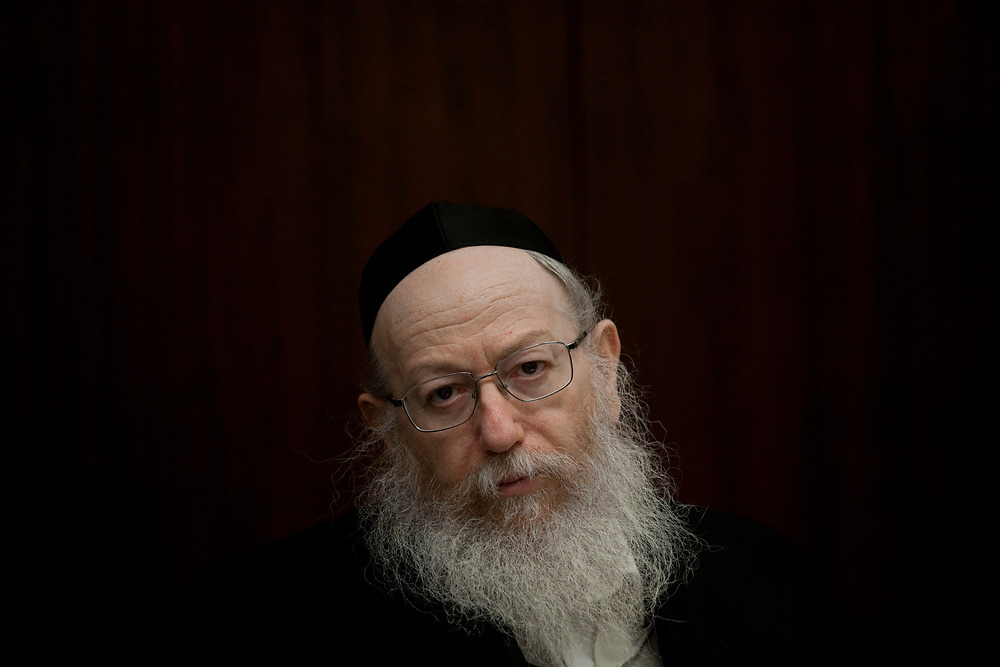 Israel's Deputy Minister of Health Yaakov Litzman attends the presentation of the Minister of Health annual report on smoking in Israel, during a press conference at the Knesset, Israel's parliament in Jerusalem, on May 30, 2012.