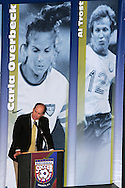 28 August 2006: Broadcaster Bill McDermott presented 2006 Hall of Fame inductee Al Trost (not pictured) for enshrinement. The National Soccer Hall of Fame Induction Ceremony was held at the National Soccer Hall of Fame in Oneonta, New York.