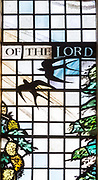 Stained glass window by Margaret Edith Aldrich Rope, All Saints church, Lydiard Millicent, Wiltshire, England, UK
