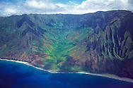 Aerial image of Kalalau Valley on Kauai's spectacular Napali coast, Hawaii, USA.