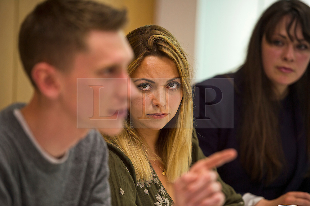 © Licensed to London News Pictures. 04/06/2015. L to R SAM FAIRBAIRN (national secretary of the peoples assembly), CHARLOTTE CHURCH (singer) and AMELIA WOMACK (deputy leader of the green party).  Singer and activist CHARLOTTE CHURCH takes part in a panel press conference at the Unite Union building in London, ahead of an anti-austerity demonstration on June 20th. London, UK. Photo credit: Ben Cawthra/LNP