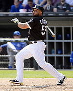 CHICAGO - APRIL 26:  Melky Cabrera #53 of the Chicago White Sox bats against the Kansas City Royals on April 26, 2017 at Guaranteed Rate Field in Chicago, Illinois.  The White Sox defeated the Royals 5-2.  (Photo by Ron Vesely)   Subject:  Melky Cabrera