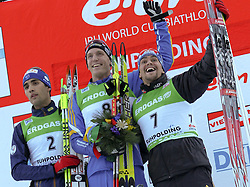 16.01.2011, Chiemgau Arena, Ruhpolding, GER, IBU Biathlon Worldcup, Ruhpolding, Pursuit Men, im Bild Podium, 2. Platz, Martin FOURCADE (FRA), Sieger, Bjoern FERRY (SWE) und 3. Platz, Michael GREIS (GER) // Podium, 2nd place, Martin FOURCADE (FRA) // winner, Bjoern FERRY (SWE) and 3rd place, Michael GREIS (GER) during IBU Biathlon World Cup in Ruhpolding, Germany, EXPA Pictures © 2011, PhotoCredit: EXPA/ S. Kiesewetter