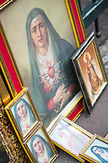 Religious images for sale outside Church of the Society of Jesus, La Compania in Quito, Ecuador