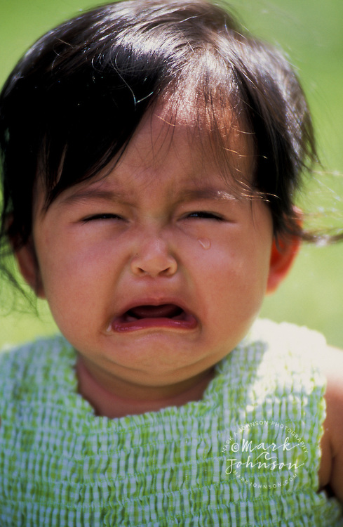 8 month old Filipino-Caucasian baby girl crying people ****Model Release available