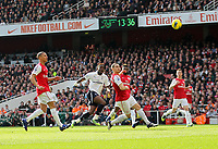 20120226: LONDON, UK - Barclays Premier League 2011/2012: Arsenal vs Tottenham.<br /> In photo: Tottenhams Louis Saha scoring his sides opening goal.<br /> PHOTO: CITYFILES