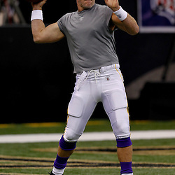 September 9, 2010; New Orleans, LA, USA;  Minnesota Vikings quarterback Brett Favre during warm ups prior to the NFL Kickoff season opener between the Minnesota Vikings and the New Orleans Saints at the Louisiana Superdome. Mandatory Credit: Derick E. Hingle