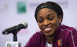 October 25, 2018 - Kallang, SINGAPORE - Sloane Stephens of the United States talks to the media after winning her second match at the 2018 WTA Finals tennis tournament (Credit Image: © AFP7 via ZUMA Wire)