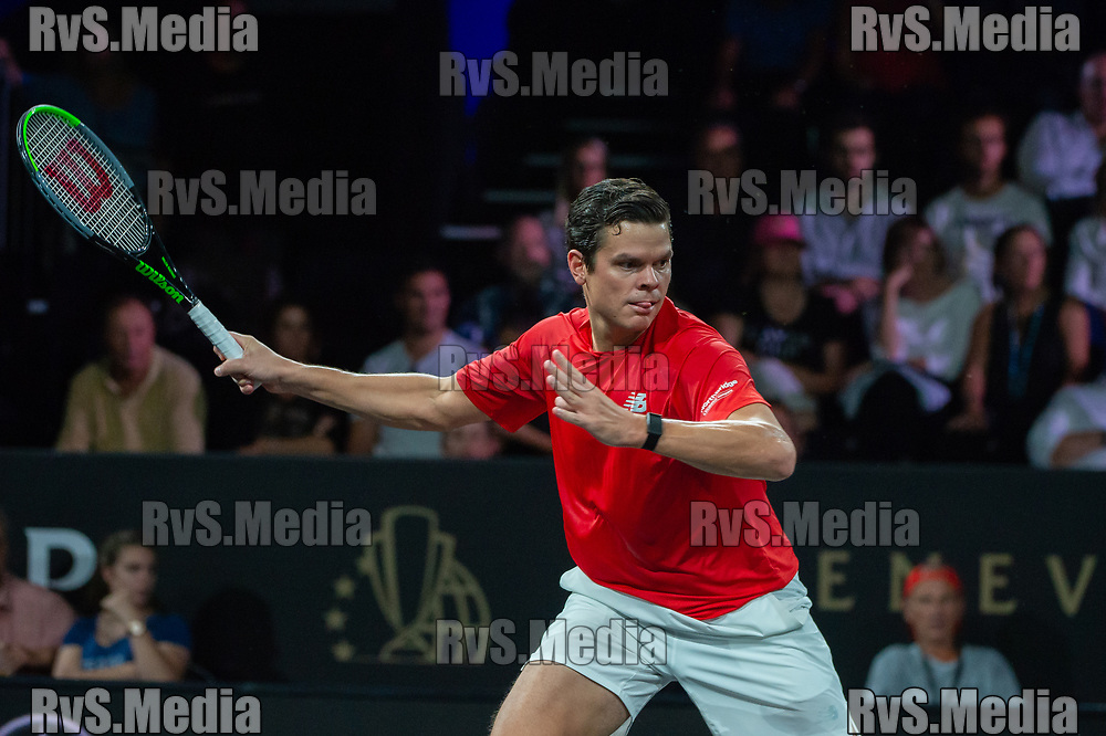 GENEVA, SWITZERLAND - SEPTEMBER 22: Milos Raonic of Team World in action during Day 3 of the Laver Cup 2019 at Palexpo on September 20, 2019 in Geneva, Switzerland. The Laver Cup will see six players from the rest of the World competing against their counterparts from Europe. Team World is captained by John McEnroe and Team Europe is captained by Bjorn Borg. The tournament runs from September 20-22. (Photo by Robert Hradil/RvS.Media)