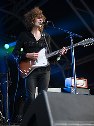 © Licensed to London News Pictures. 18/06/2015. London, UK.   Temples performing live at Hyde Park supporting The Strokes.  .   In this picture - James Bagshaw.  Photo credit : Richard Isaac/LNP