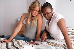 Teenage girls in hostel.