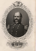 Ambrose Everett Burnside (1824-81) American soldier; Unionist general in American Civil War.  His style of facial hair was called Burnsides and is now known as sideburns. Engraving