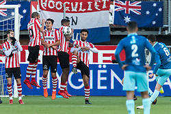 (L-R) Loris Brogno of Sparta Rotterdam, Soufyan Ahannach of Sparta Rotterdam, Kenneth Dougall of Sparta Rotterdam, Fred Friday of Sparta, Ryan Sanusi of Sparta Rotterdam, Khalid Karami of Excelsior, Hicham Faik of Excelsior during the Dutch Eredivisie match between Sparta Rotterdam and sbv Excelsior at the Sparta stadium Het Kasteel on January 21, 2018 in Rotterdam, The Netherlands