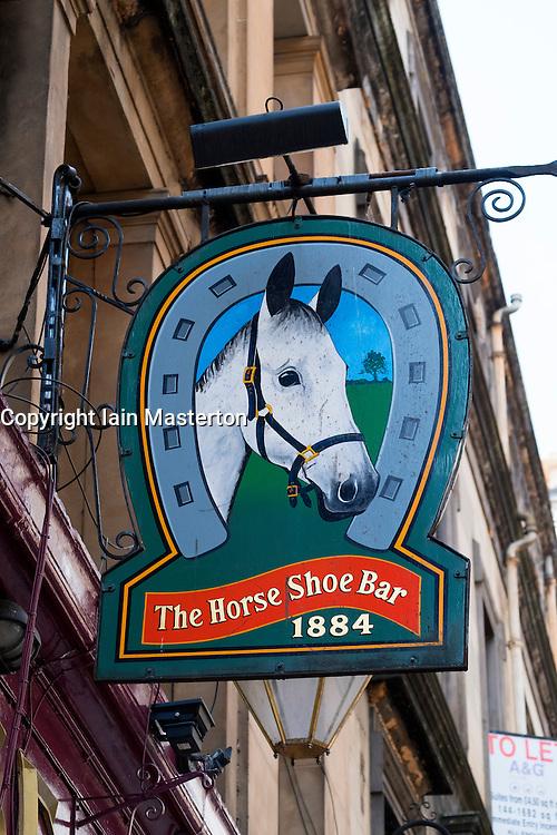 Sign outside famous horseshoe Bar in Glasgow, Scotland, United Kingdom