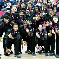11 August 2012: Team USA poses with the gold media after the 86-50 Team USA victory over Team France, during the Women's Gold Medal Game, at the North Greenwich Arena, in London, Great Britain.