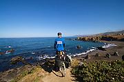 Cyclist on Pacific Coast Route - Mendocino Coast - California - USA
