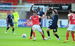 Finn Azaz of Cheltenham Town tries to hold off Toumani Diagouraga and Ben Pringle of Morecambe- Mandatory by-line: Nizaam Jones/JMP - 12/09/2020 - FOOTBALL - Jonny-Rocks Stadium - Cheltenham, England - Cheltenham Town v Morecambe - Sky Bet League Two