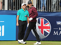 Golf - 2018 Sky Sports British Masters - Thursday, First Round<br /> <br /> Francesco Molinari of Italy and Tommy Fleetwood of england at the first hole, at Walton Heath Golf Club.<br /> <br /> COLORSPORT/ANDREW COWIE