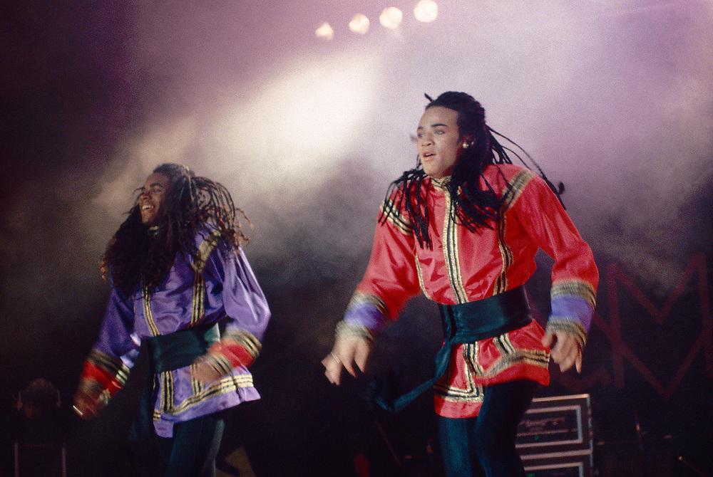 BETHLEHEM - APRIL 13: (L-R) Fab Morvan and Rob Pilatus of Milli Vanilli perform at Stabler Arena on April 13, 1990, in Bethlehem, Pennsylvania. (Photo by Lisa Lake)