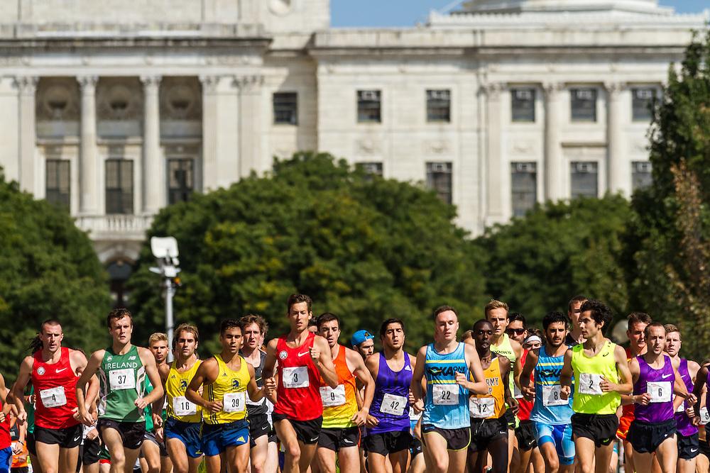 elite men start with Rhode Island capitol in background
