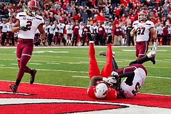 NORMAL, IL - October 13: Touchdowns are touchdowns no matter how you break the plane as is the case in this play featuring Markel Smith during a college football game between the ISU (Illinois State University) Redbirds and the Southern Illinois Salukis on October 13 2018 at Hancock Stadium in Normal, IL. (Photo by Alan Look)