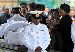 Dec. 11, 2013 - Pretoria, South Africa - Former South African President Nelson Mandela's wife GRACA MACHEL (R) pays her respect at his coffin at the Union Buildings. Thousands of South Africans on Wednesday thronged to the Union Buildings in Pretoria where the body of former South African president Nelson Mandela will lie in state for three days. (Credit Image: © Elmond Jiyane/Xinhua/ZUMAPRESS.com)