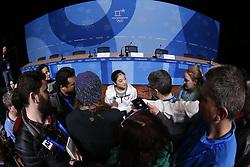 February 18, 2018 - Pyeongchang, KOREA - United States figure skater Marai Nagasu Chen at press conference during the Pyeongchang 2018 Olympic Winter Games at Kwandong Hockey Centre. Finland beat Sweden 7-2. (Credit Image: © David McIntyre via ZUMA Wire)