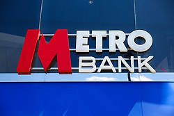 May 13, 2019 - London, UK, United Kingdom - A Metro Bank branch is seen in London. .Metro Bank's shares dropped by 8% on Monday 13 May 2019 leaving them 70% lower for the year to date and concerns about the bank's financial position. At its many branches, it has been reported that customers are queueing outside the bank after a WhatsApp message advising people to withdraw their money out of their accounts and empty safe deposit boxes. (Credit Image: © Dinendra Haria/SOPA Images via ZUMA Wire)