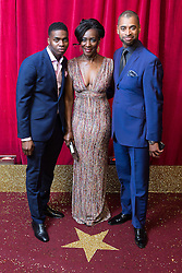 © Licensed to London News Pictures . 16/05/2015 .  The Palace Hotel , Manchester , UK . Duayne Boachie , Jacqueline Boatswain and Karl Collins . The red carpet at the 2015 British Soap Awards , The Palace Hotel , Oxford Road , Manchester . Photo credit : Joel Goodman/LNP