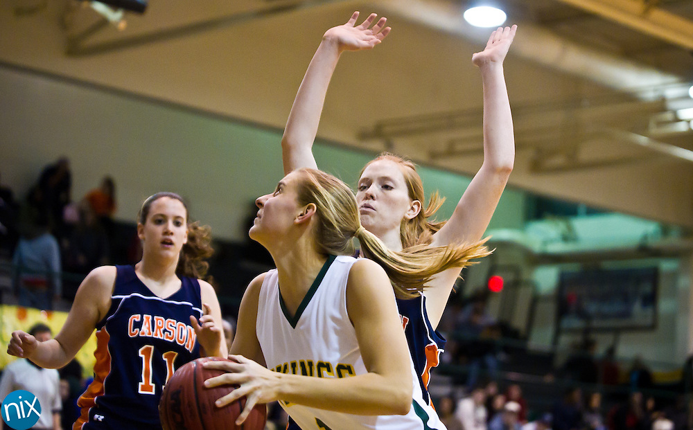 Central Cabarrus' Beth Roughton looks to shoot against Carson Monday night at Central Cabarrus High School. Carson won the game 65-43. (Photo by James Nix)