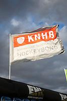 BLOEMENDAAL -  KNHB vlag tegen een mooie wolkenlucht.  . Euro Hockey League 2015 . COPYRIGHT KOEN SUYK