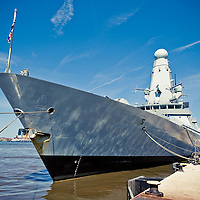 HMS Daring docked in Liverpool at the cruise terminal