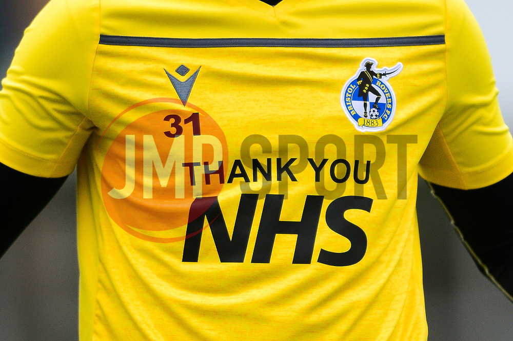 Bristol Rovers warm up before the game with thank you NHS  - Mandatory by-line: Dougie Allward/JMP - 15/08/2020 - FOOTBALL - Memorial Stadium - Bristol, England - Bristol Rovers v Exeter City - Pre-season friendly